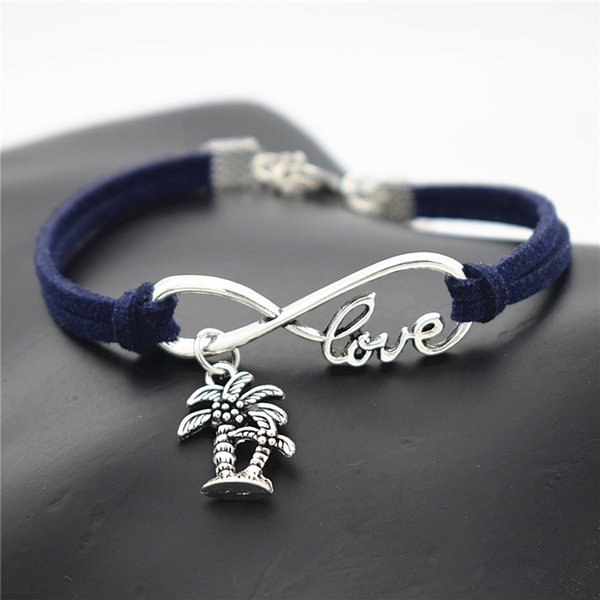 Hot Statement Silver Plated Luck 8 Infinity Love Double Coconut Palm Tree Plant Bracelets Dark Navy Leather Rope Bangles Womens Mens Jewelry