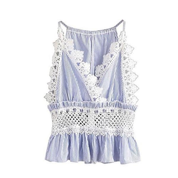 2019 Fashion Women Summer T-shirt Sexy Lace V-neck Back Zip Ladies Top Sleeveless Sling Female Clothing