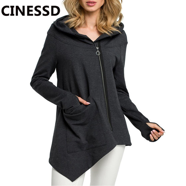 CINESSD Women Hooded Casual Coats Solid Long Sleeve Oblique Zipper Cardigan Hoodie Sweatshirt Irregular Thumb Hole Pocket Jacket