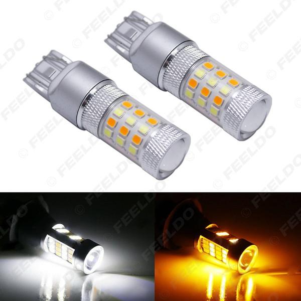 venta al por mayor xenón blanco / ámbar sin hiper flash 7443 2835 chip 42SMD bombillas LED de conmutación para luces de señal de giro delanteras # 5313