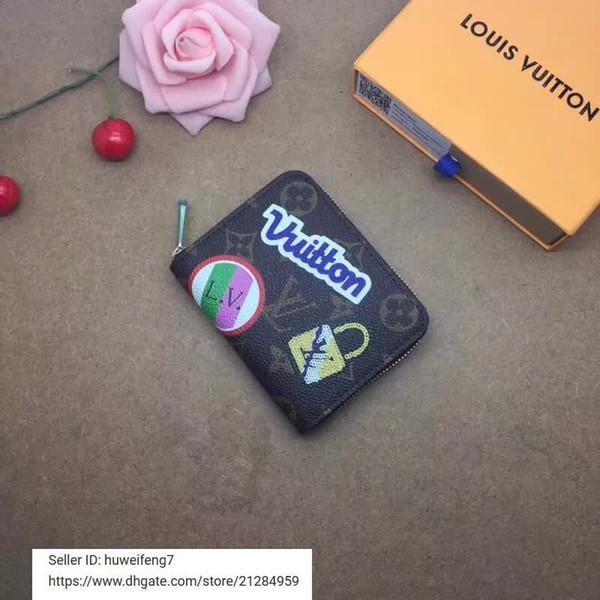 libobo7 2019 portamonete M63391 Zipper DONNE VERA PELLE PORTAFOGLIO LUNGO CATENA PORTAFOGLI BORSA COMPACT FRIZIONI portachiavi SERA CARD