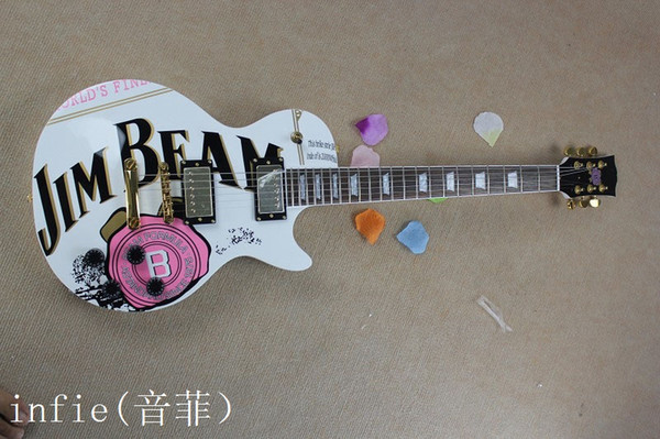 Free shipping JIM BEAM model with pink rose flower decal on body top white color OEM Standard electric Guitar