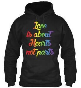 Love Is About Hearts Not Parts Lesbian Funny Gifts Harajuku Hoodie Sweatshirt