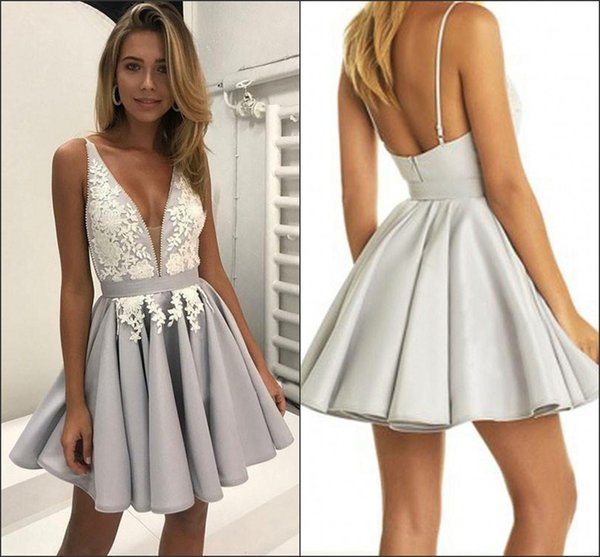 Sexy Short Homecoming Dresses 2018 New Plunging V-Neck A Line Knee Length Graduation Gowns Backless Prom Wear Custom