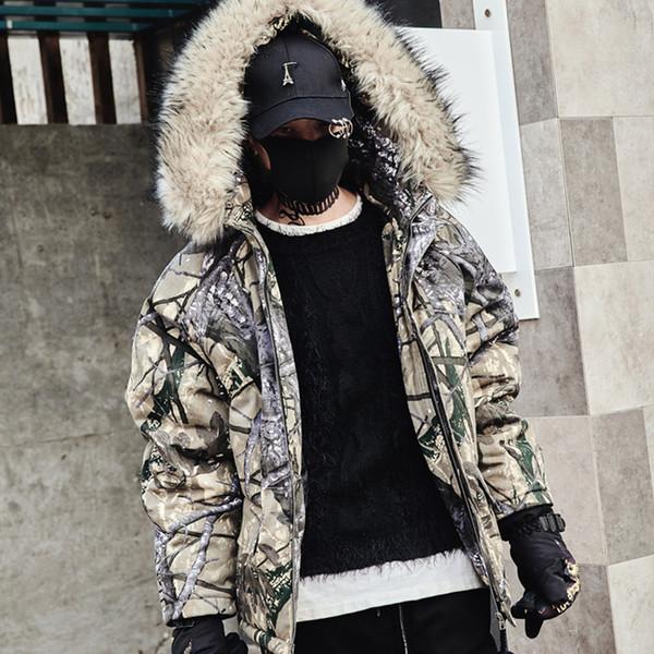 2018 Winter neue Männer Baumwollmantel Mode Druck Tarnung lose warme Baumwolle Kleidung lässig mit Kapuze Wolle Kragen Mantel