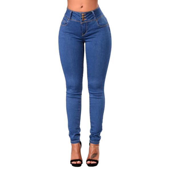 women fashion plus size high waist buttons pockets skinny denim pencil pants ladies casual stretch washed jeans feet pants tro