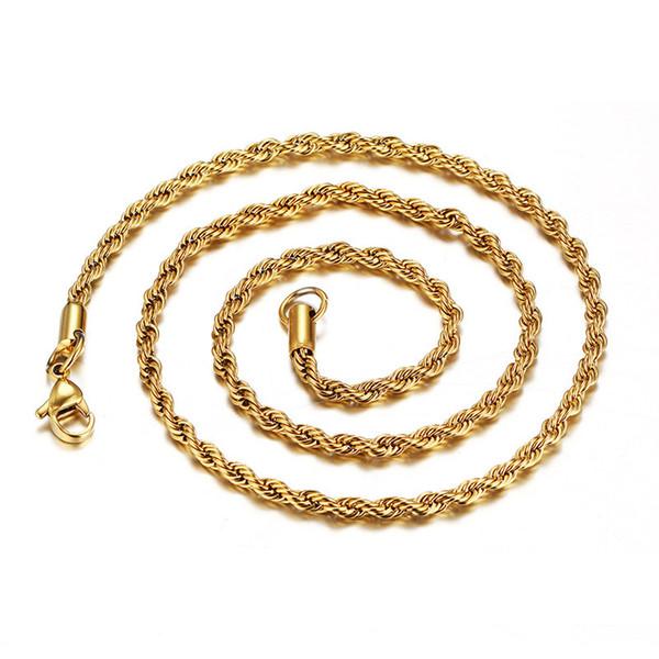 3 MM 18 K Banhado A Ouro Trançado Corda Correntes Para mulheres homens s Colares Gargantilha Jóias em Massa 16 18 20 22 24 30 polegadas