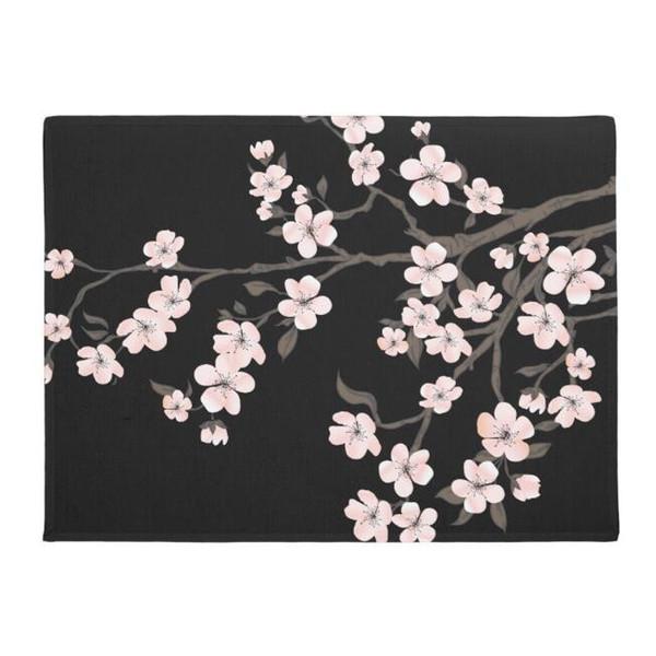 Black Oriental Cherry Blossom Felpudo Japonés Rosa Flor Floral Bienvenido Estera de la puerta para entrada de piso Alfombra antideslizante Alfombra