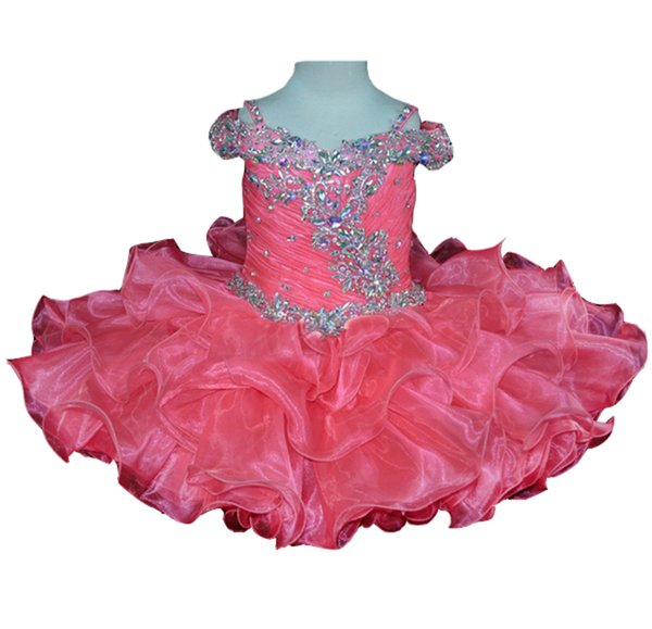 Beaded Little Baby's Pageant Cupcake Dresses Custom Made Short Ruffled Sequins Infant Party Gowns Rhinestones Toddler Parent Daughter Dance