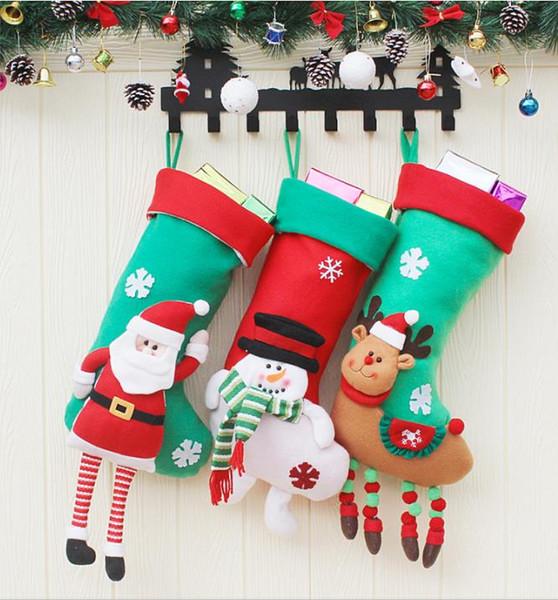 Bas de Noël 3D Bonhomme De Neige Rennes Père Noël Designs Non Tissé Cadeau Cadeau Sac De Noël Ornements Suspendus Décorations De Noël Chaussette