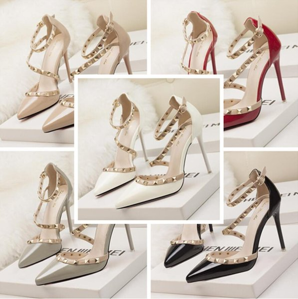 super specials low cost price reduced Fashion Luxury Designer Red Black Rivets Women Shoes High Heels Wedding  Shoes Cheap White Bridal Party Formal Dancing Evening Shoe In Stock Blue  Flat ...
