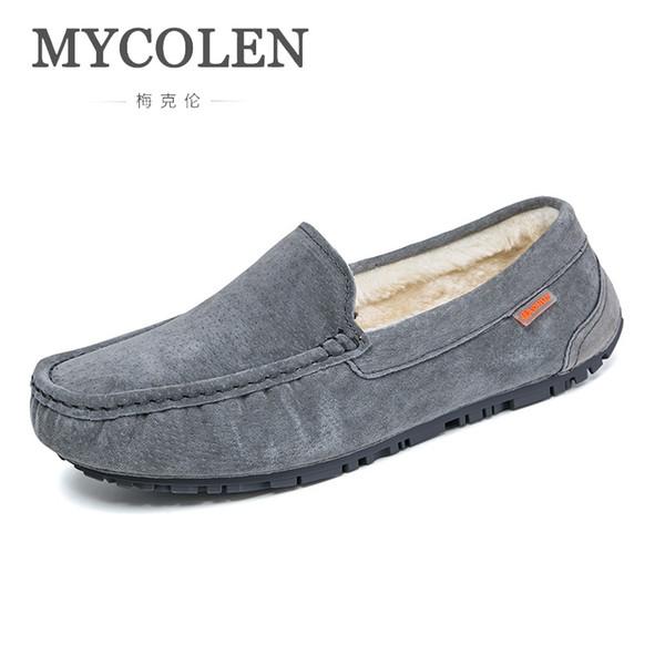MYCOLEN Men'S Casual Shoes British Style Genuine Leather Flats Loafers Footwear Men Autumn And Winter Erkek Ayakkabi Deri