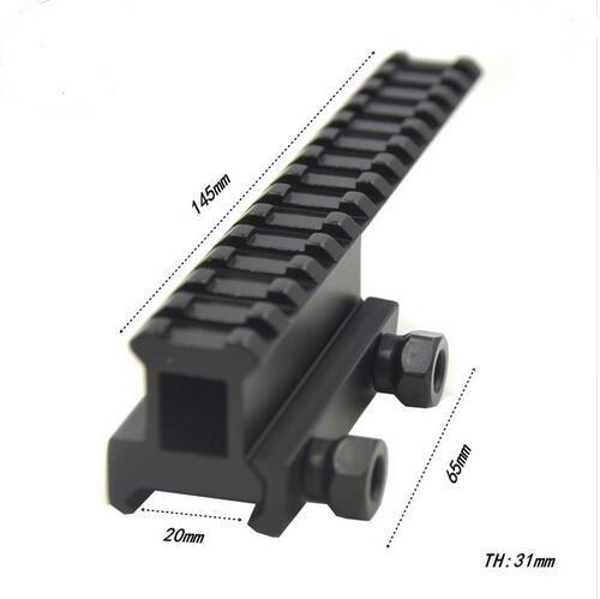 Trijicon Hochwertiger Tactical Riser Extended Durchsichtig Langschiene 20mm Picatinny Weaver Rail Scope Mount Base