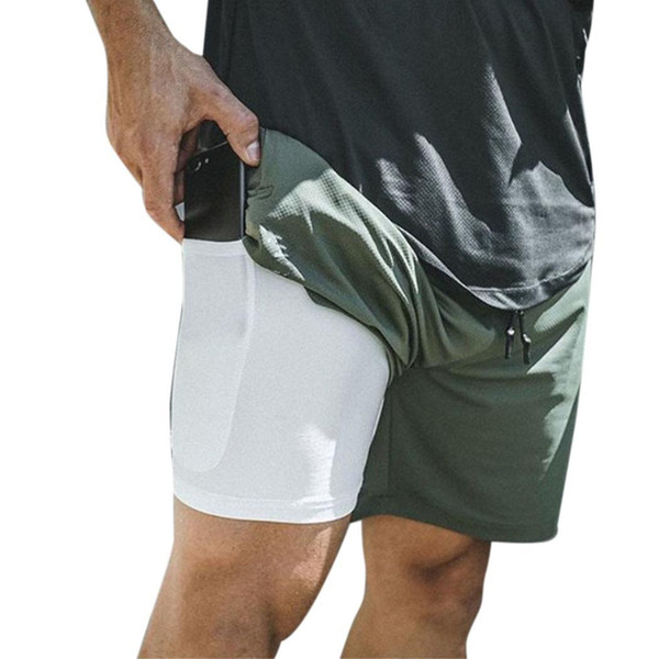 Double-layers Men Fitness Training Quick-drying Jogging Sports Pocket Shorts Regular fit, Casual, Sports