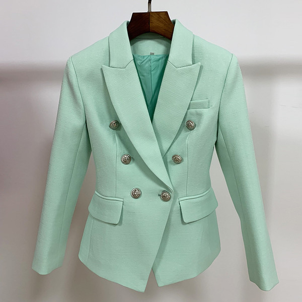 Blazers High Street Classic Barroco Designer Blazer Chaqueta Femenino Metal Lion Botones Doble Breasted Blazer Mint Green