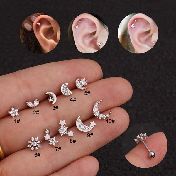 best selling Fashion Zircon Moon Star Flower Tiny Cartilage Earring pentacle Cartilage Stud Ear Helix Piercing Jewelry Tragus Conch Earring Stud