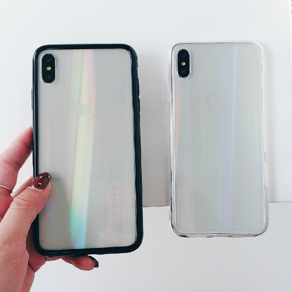Holo Glass Transparent Back Cover Protective Case for IPhone X XS Max 7 8 6 6s Plus Rainbow Hologram Shockproof Soft TPU Bumper