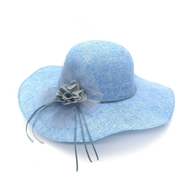 4e83a4bf49b45 Wide Brim Beach Summer Sun Hats For Women Cambric Chapeu Feminino Organza  Flower Faux Leather Bowknot