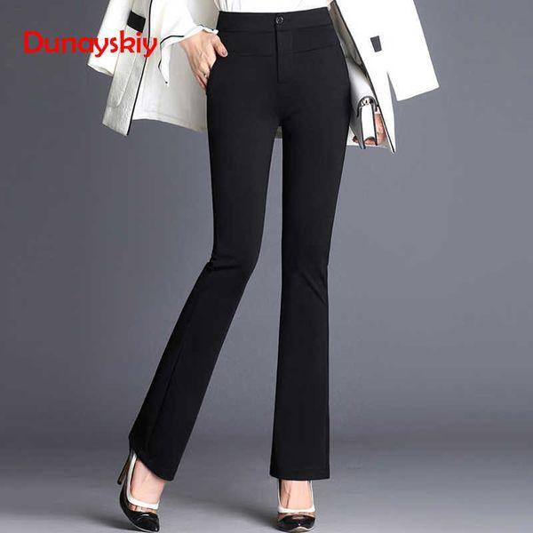 Dunayskiy Women Spring Black Navy Blue Solid Long Flare Pants Formal Office Lady High Waist Trousers Elegant Slim Business Suits T5190606