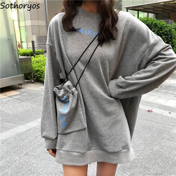Hoodies Women Letter Printed Ulzzang Soft Long-sleeved Ladies Loose Korean Style Harajuku Girl Hip-hop Chic Womens Clothing Chic SH190824