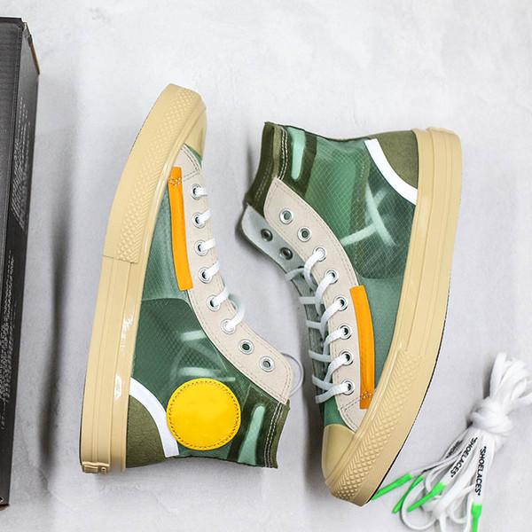 Moda Beyaz x Convase Yıldız Chunk 1970 s Yeşil Tasarımcı Saydam Tasarım Rahat Ayakkabı Taylor Erkek Kadın Şeffaf Yeşil Örgü Sneakers