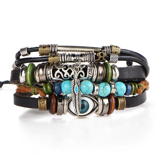 Antique Silver Horus Evil Eye Owl Bracelet Strands Multilayer Wrap Leather Bracelet Wristband Bangle Cuffs Jewelry for Women Y2626