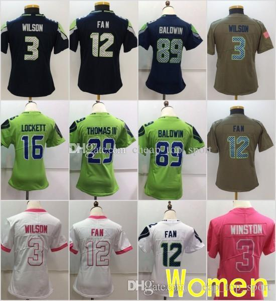 low priced b7572 af76b 2019 Women Seattle Jerseys 3 Russell Wilsons Seahawks 12 Th FAN 89 Doug  Baldwin 16 Tyler Lockett Olive Salute To Service Ladies Size S 2XL From ...
