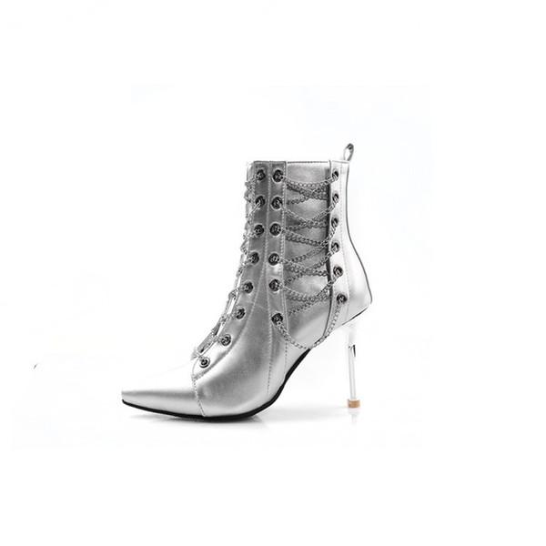 Otoño e invierno Nueva moda Metal con cordones Cremallera Botas a media pierna 9CM Botas de cuero de tacón alto para mujer Alta calidad