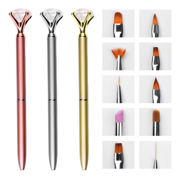 10pcs Replace Head Metal Crystal Nail Art Brush Pens For Drawing Liner 3D Carving Removing Cuticles Pusher Manicure Tools Kits