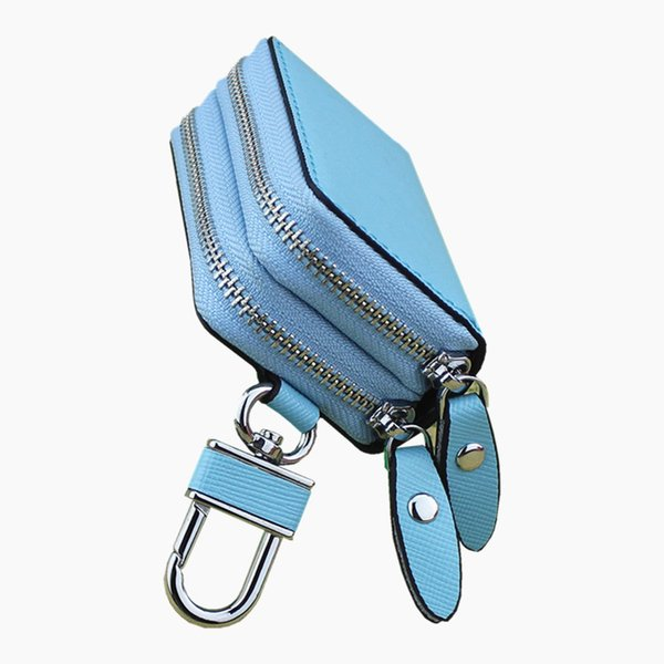 Popular New Unisex Genuine Leather Keychain Car Key Holder Double Zipper Case Wallets Bag Multi Colors For Gift