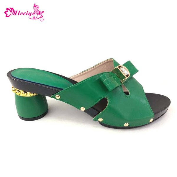 2019 New Green Color Italian Ladies Sexy Low Heels Pumps Rhinestones Large Size 37 To 44 High Quality Slip on Women Parties Shoe