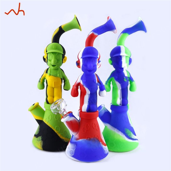 Mario- shape Silicone Tobacco Pipes Oil Wax Water Pipe Portable Silicone Bongs Dab Oil Rig Glass Water Bong Best Smoking Pipe