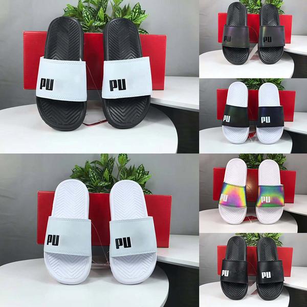 Yeni Moda Erkek Bayan Terlik Lüks Slogan Sandalet Üçlü Siyah Beyaz Gökkuşağı Renk Scuffs Slaytlar Rahat Ayakkabılar Boyutu 36-44