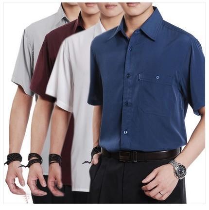 2015 summer casual shirt short-sleeve shirt quinquagenarian thin silk men slim fit shirts M, L, XL, XXL, XXXL , XXXXL 15