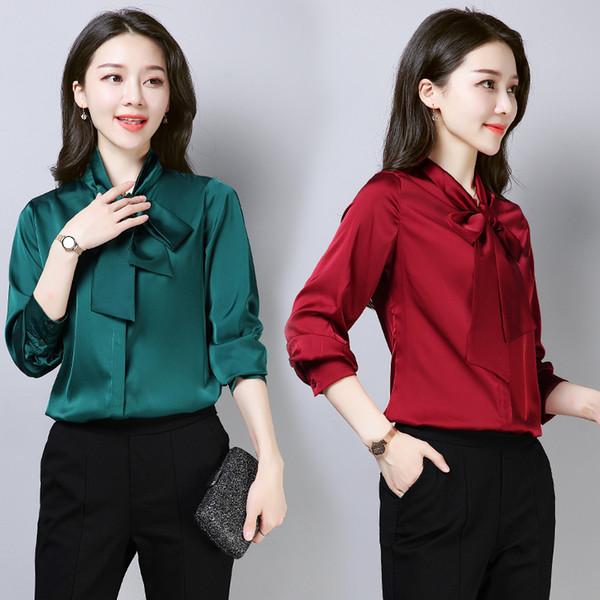 vendita all'ingrosso signore eleganti camicia cravatta da donna vintage verde rosa camicia camicia bianca nera autunno manica lunga seta raso