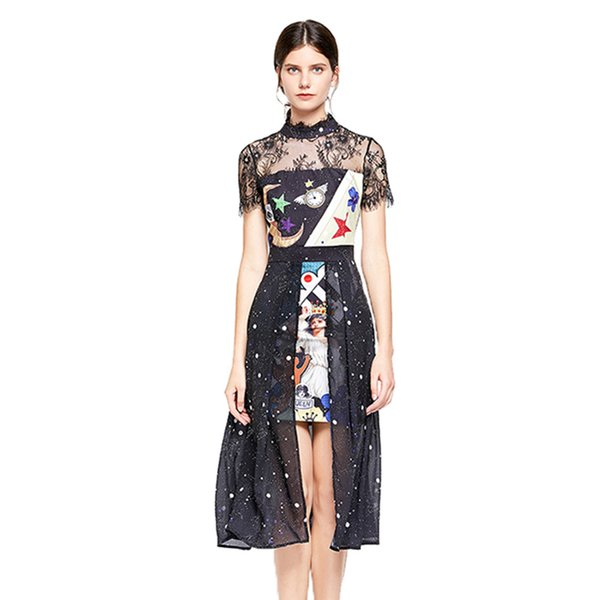 Summer New Style Cartoon Moon And Angel Printed Lace And Mesh Panelled Dress