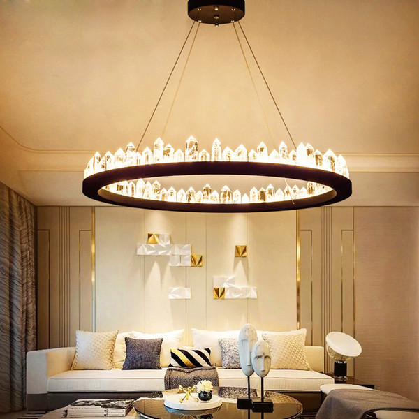 Brief de ign modern cry tal chandelier black gold hanging light ac110v 220v lu tre dinning room light fixture bar lamp