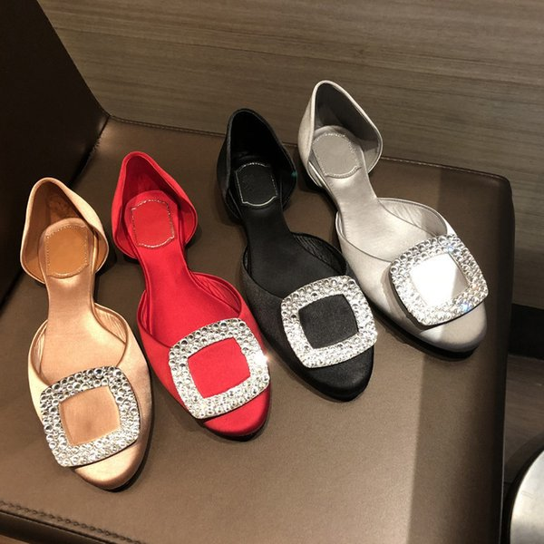 19ss Rhinestone Square Buckle Shallow Casual Shoes Luxury Silk Slip On Soft Flat Single Shoes Banquet Wedding Woman Shoes