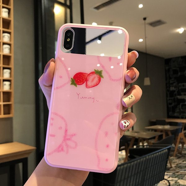 Mytoto Cute Summer Fruits Phone Cases For iPhone XS Max XR 6 6S 7 8 Plus X XS Makeup Mirror Phone Back Cover Cases Gifts