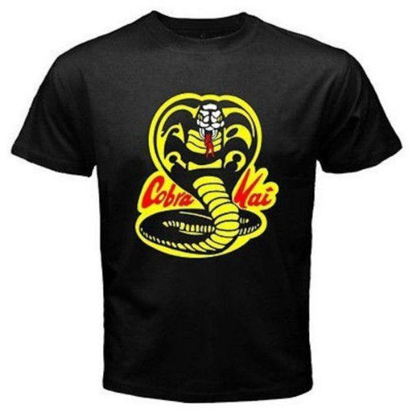 T-shirt da uomo Cobra Kai Karate Kid Movie stampato Nero T-shirt stile tondo stile tshirt Tees personalizzato Jersey t-shirt con cappuccio hip hop t-shirt