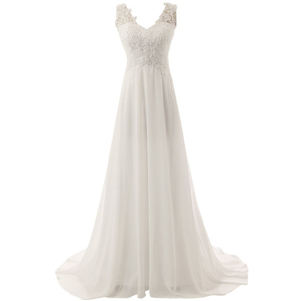 Discount Simple V Neck A Line Cheap Wedding Dresses Under 100 Lace Appliques Sequins Chiffon Wedding Dress Covered Buttons Vintage Wedding Gowns
