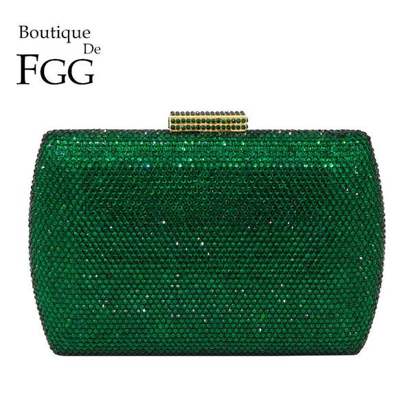 Boutique De Fgg Elegant Green Emerald Crystal Women Evening Handbags Metal Hard Case Wedding Party Dinner Diamond Clutch Bag Y190626
