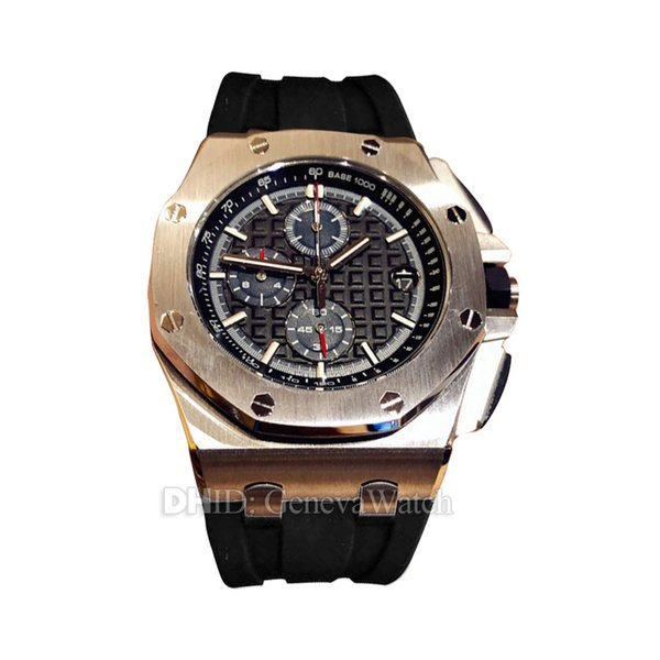 Sports Chronograph Quartz Movement Silver 316L Stainless Steel Case Multifunction Black Dial Rubber Strap Mens Watches Luminous Waterproof