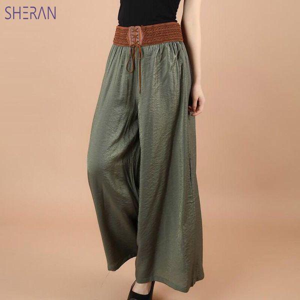 Sheran 2018 cotone lino morbido pantaloni larghi delle donne pantaloni vita elastica tinta unita caviglia pantaloni larghi estivi Pantalon Femme Y19070101