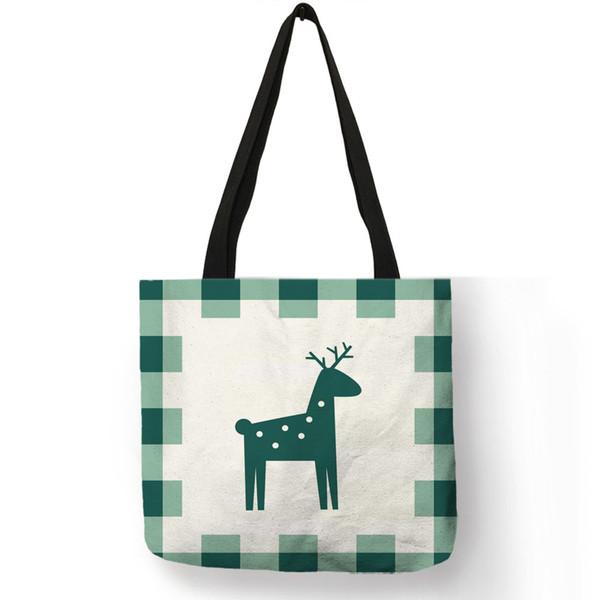 Ins Fashion Animal Print Tote Bag For Women Girl Nordic Deer Bear Pattern Reusable Shopping Bags Linen Handbag