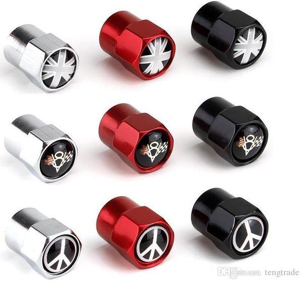 bandiera Union Jack UK V8 in lega di alluminio a tre colori mini del metallo valvola della gomma valvole dei pneumatici polvere Berretti Berretto segni emblema del distintivo dell'automobile Badges Anti-guerra AMG