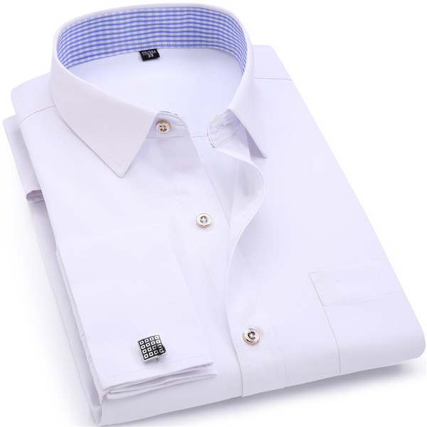 Men's Dress Shirts Cuff Blue White Long Sleeved Business Casual Slim Fit Solid Color French Cufflinks Shirt Q190514