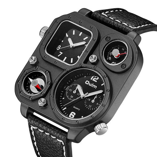 Oulm Hommes Montres Double Affichage Horloge Armée Carré Grand Cadran Compas Thermomètre Design En Cuir Militaire Montre À Quartz