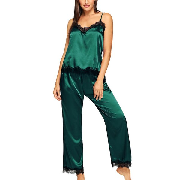 Long Satin Pajamas for Women Lace Top with Pant Winter Sleepwear Silk Pijama Comfortable Home Clothes Y19042803