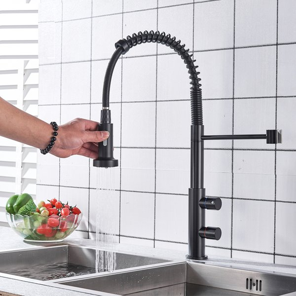 2019 Rainfall Matte Black Kitchen Sink Faucet Pull Down Kitchen Faucet Dual  Handle Mixer Tap 360 Rotation Cold Hot Torneira Cozinha Mixer Tap From ...